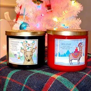 3 Wick Candles Holiday & Cinnamon Carmel Swirl